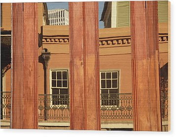 French Quarter Reflection Wood Print