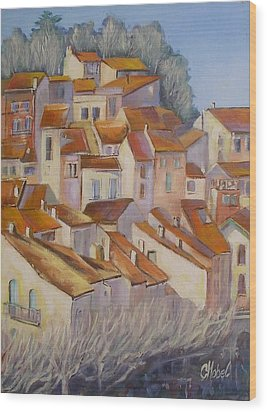 Wood Print featuring the painting French Villlage Painting by Chris Hobel