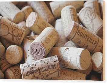 French Wine Corks Wood Print by Georgia Fowler