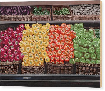 Fresh Bell Peppers At Whole Foods In New Orleans Wood Print by Sean Gautreaux