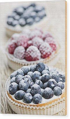 Fresh Berry Tarts Wood Print by Elena Elisseeva
