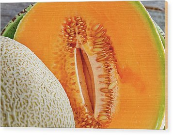 Fresh Cantaloupe Melon Wood Print