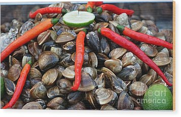 Wood Print featuring the photograph Fresh Clams With Chilies And Limes by Yali Shi