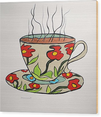 Wood Print featuring the painting Fresh Cup by John Williams