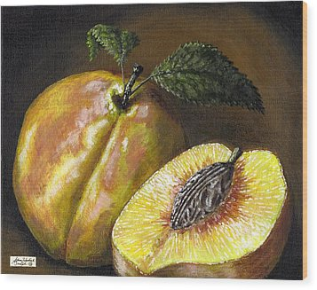 Fresh Peaches Wood Print by Adam Zebediah Joseph