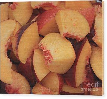 Fresh Peaches Wood Print by Carol Groenen