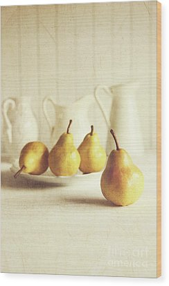 Fresh Pears On Old Wooden Table Wood Print by Sandra Cunningham