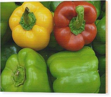 Fresh Peppers II Wood Print by Florene Welebny