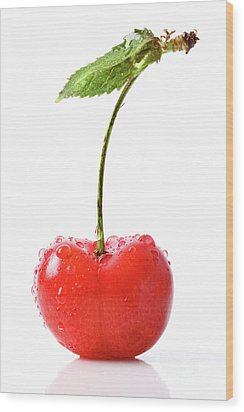 Fresh Red Cherry Isolated On White Wood Print by Sandra Cunningham