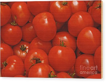Fresh Red Tomatoes Wood Print by Thomas Marchessault