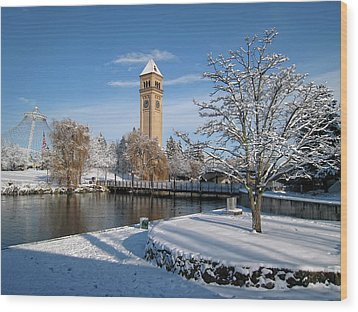 Fresh Snow In Riverfront Park - Spokane Washington Wood Print by Daniel Hagerman