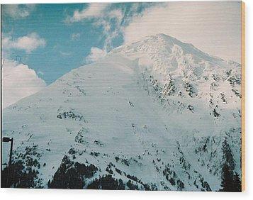 Fresh Snow Peak Wood Print by Judyann Matthews