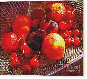 Fresh Stone Fruit Still Life - A Summer Paintograph Wood Print by Christine S Zipps