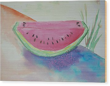 Fresh Watermelon Wood Print by Aldonia Bailey