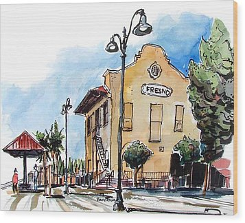Old Fresno Depot Wood Print by Terry Banderas