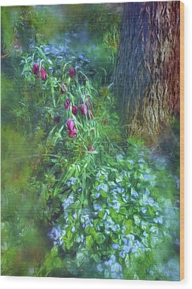 Wood Print featuring the photograph Fritillaria And Forget-me-nots  by Connie Handscomb