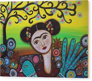 Wood Print featuring the painting Frida And Bird by Pristine Cartera Turkus