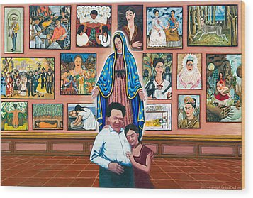 Frida And Diego Wood Print by James Roderick