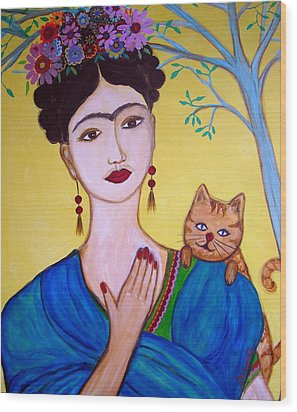 Wood Print featuring the painting Frida And Her Cat by Pristine Cartera Turkus