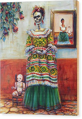 Wood Print featuring the painting Frida And Her Doll by Heather Calderon