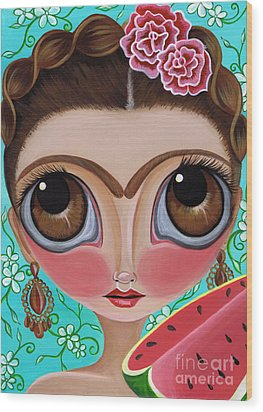 Frida And The Watermelon Wood Print by Jaz Higgins