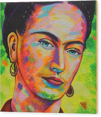 Frida Wood Print by Angel Ortiz