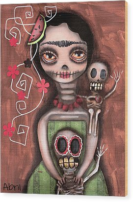 Frida Day Of The Dead Wood Print