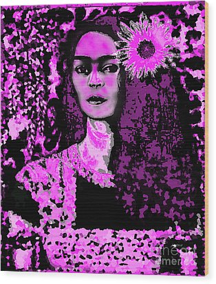 Frida In Frida Pink Wood Print by Fania Simon