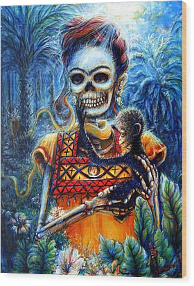 Wood Print featuring the painting Frida In The Moonlight Garden by Heather Calderon