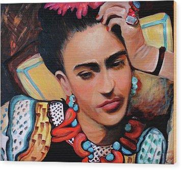 Frida Wood Print by Jan VonBokel