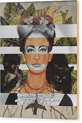 Frida Kahlo And Joan Crawford Wood Print by Luigi Tarini