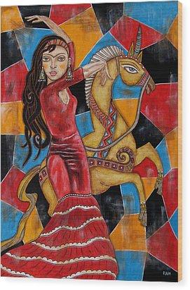 Frida Kahlo Dancing With The Unicorn Wood Print by Rain Ririn