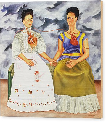 Frida Kahlo The Two Fridas Wood Print by Pg Reproductions