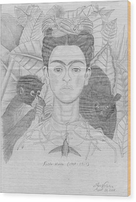 Frida Khalo Wood Print by M Valeriano