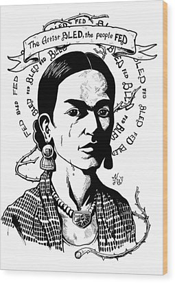 Frida Wood Print by Marcus Anderson