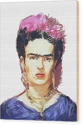 Frida Wood Print by Russell Pierce