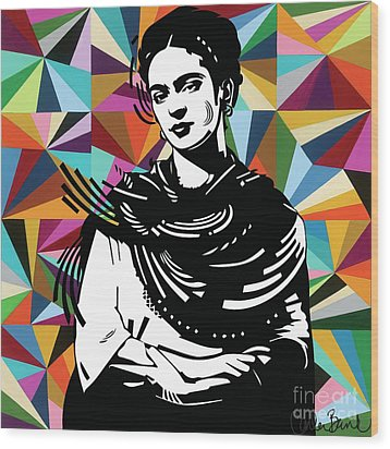 Wood Print featuring the painting Frida Stay True by Carla Bank
