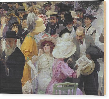 Friday At The French Artists Salon Wood Print by Jules Alexandre Grun