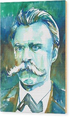 Friedrich Nietzsche Watercolor Portrait.1 Wood Print