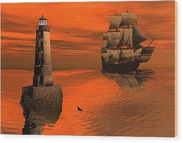 Friendly Beacon Wood Print by Claude McCoy