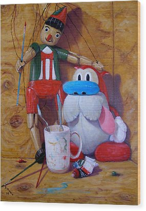 Friends 2  -  Pinocchio And Stimpy   Wood Print