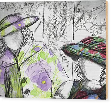 Wood Print featuring the painting Friends And Flowers by Cathie Richardson