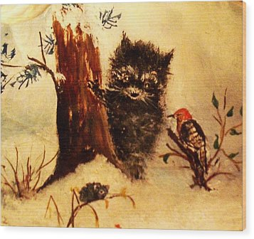 Wood Print featuring the painting Friends Forever by Hazel Holland