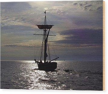 Friends Good Will Tall Ship Silhouette Wood Print by Richard Gregurich