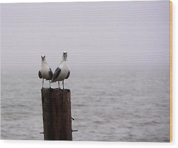 Friends In The Fog Wood Print