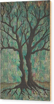 Wood Print featuring the painting Friends by Jacqueline Athmann