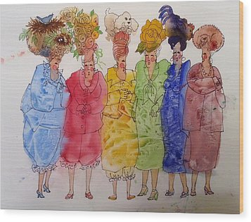 The Crazy Hat Society Wood Print by Marilyn Jacobson