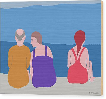 Friends On Beach Wood Print by Fred Jinkins