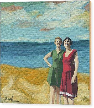 Friends On The Beach Wood Print by Linda Apple