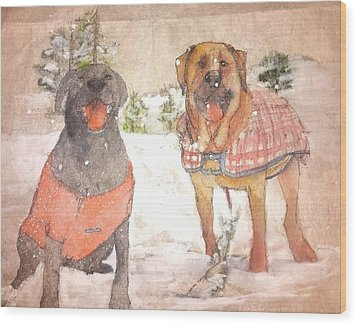 Friends Together Weather Winter Wood Print